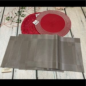 6 NWT placemats red sequins silver weaved linens
